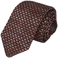 Elfeves Men's Skinny Knit Tie Vintage Smart Solid Color Formal Necktie for Groom