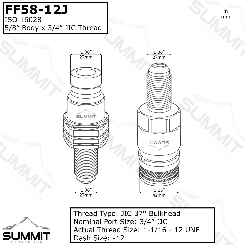 Flat Face Hydraulic Quick Coupler 5//8 Body x #12 JIC Skid Steer Bulkhead Mount