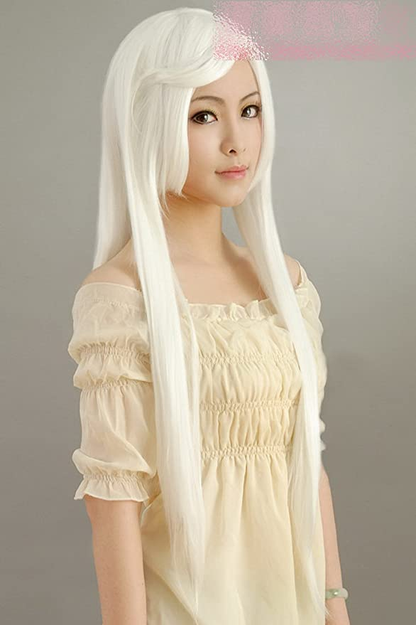 Pure Color Blanco Larga Recta Cosplay Peluca Squire Luo ...