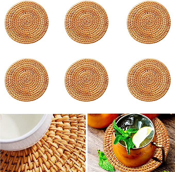 Mokinga Rattan Coasters, Coasters with Holder, 6 PCS Round Hand-made Heat Insulation Mat, Yellow Coaster for Table Top, Coffee Table, Beverage, Bar, Cup, Glass (Diameter:10 cm): Amazon.co.uk: Kitchen & Home