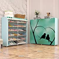 Shoe cabinet storage large capacity home furniture DIY simple 12 grid women boots shoe rack (Love Bird)