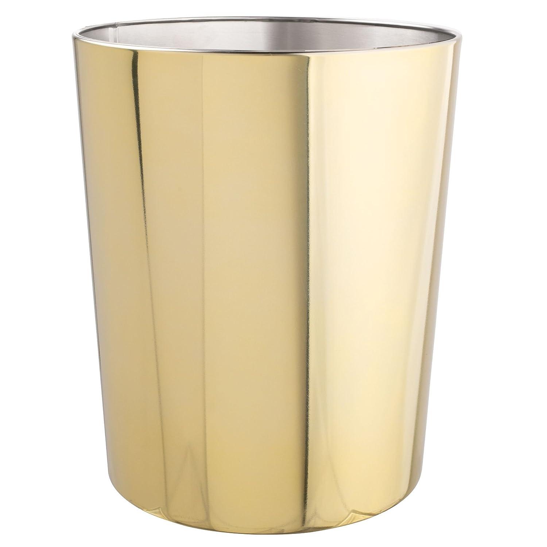 mDesign 5 Liter Rectangular Small Steel Step Trash Can Wastebasket, Garbage Container Bin for Bathroom, Powder Room, Bedroom, Kitchen, Craft Room, Office - Removable Liner Bucket - Soft Brass MetroDecor