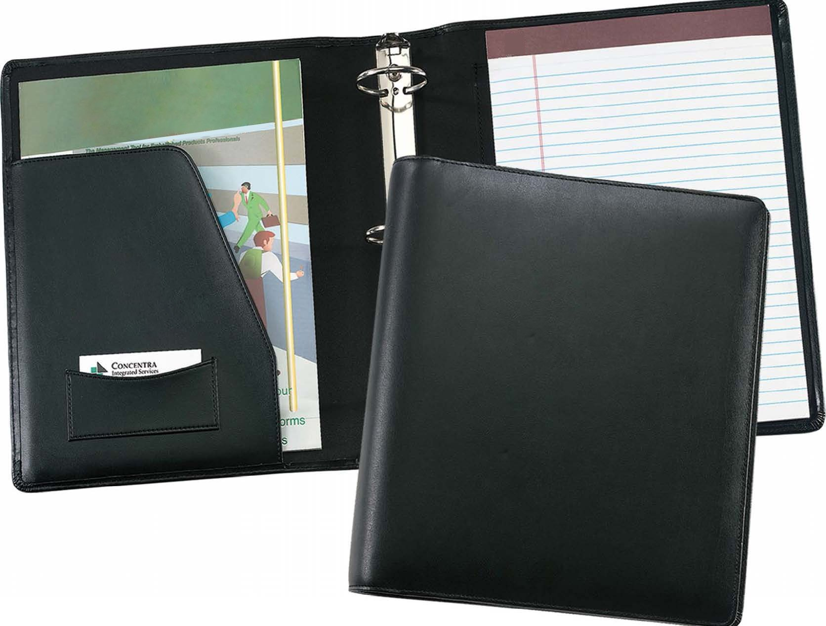 Leather 2'' Ring Binder Letter Padfolio