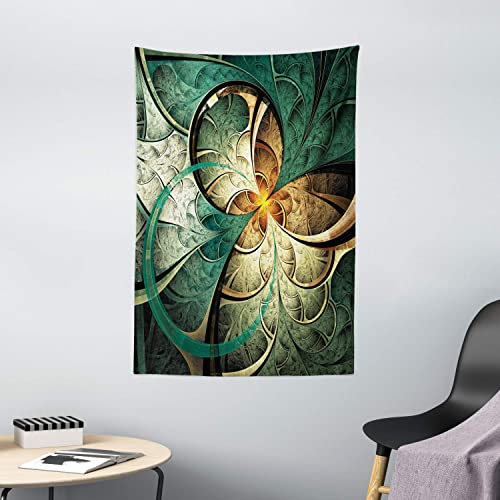 Ambesonne Fractal Tapestry, Computer Art Featured Surreal Flowers Dreamy Imaginary Creative Concept, Wall Hanging for Bedroom Living Room Dorm Decor, 40 X 60 , Jade Green