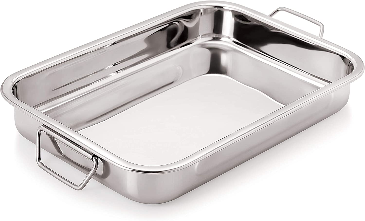 Chef Direct Stainless Steel Roast Pan with Folding Handles // Rectangular Lasagna Pan for Baking, Roasting, Grilling, OTG Oven Safe - Length 60 Cm X Width 42 Cm