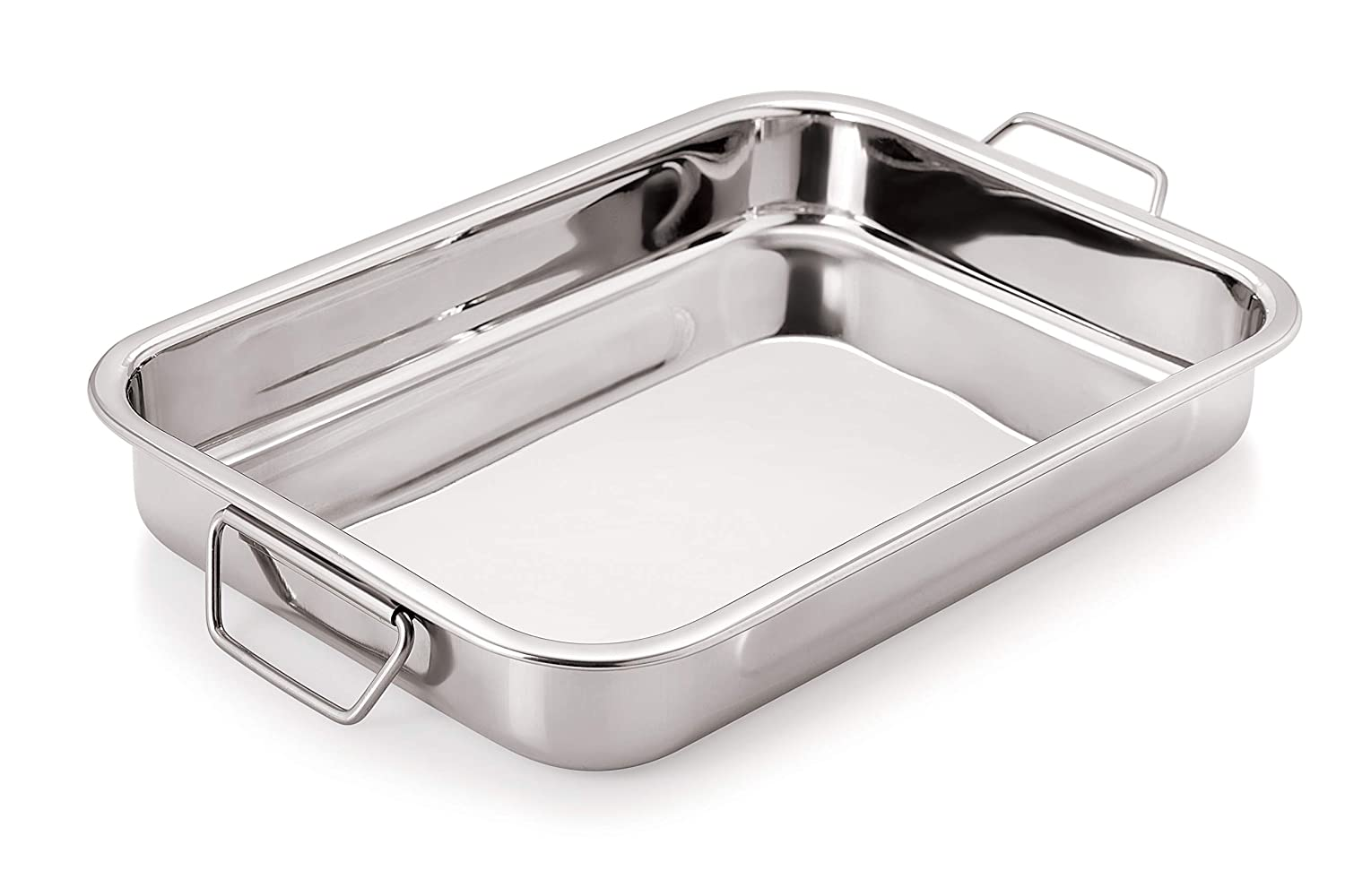 Chef Direct Stainless Steel Roast Pan with Folding Handles Rectangular Lasagna Pan for Baking, Roasting, Grilling - Length 30 cm X Width 21 cm