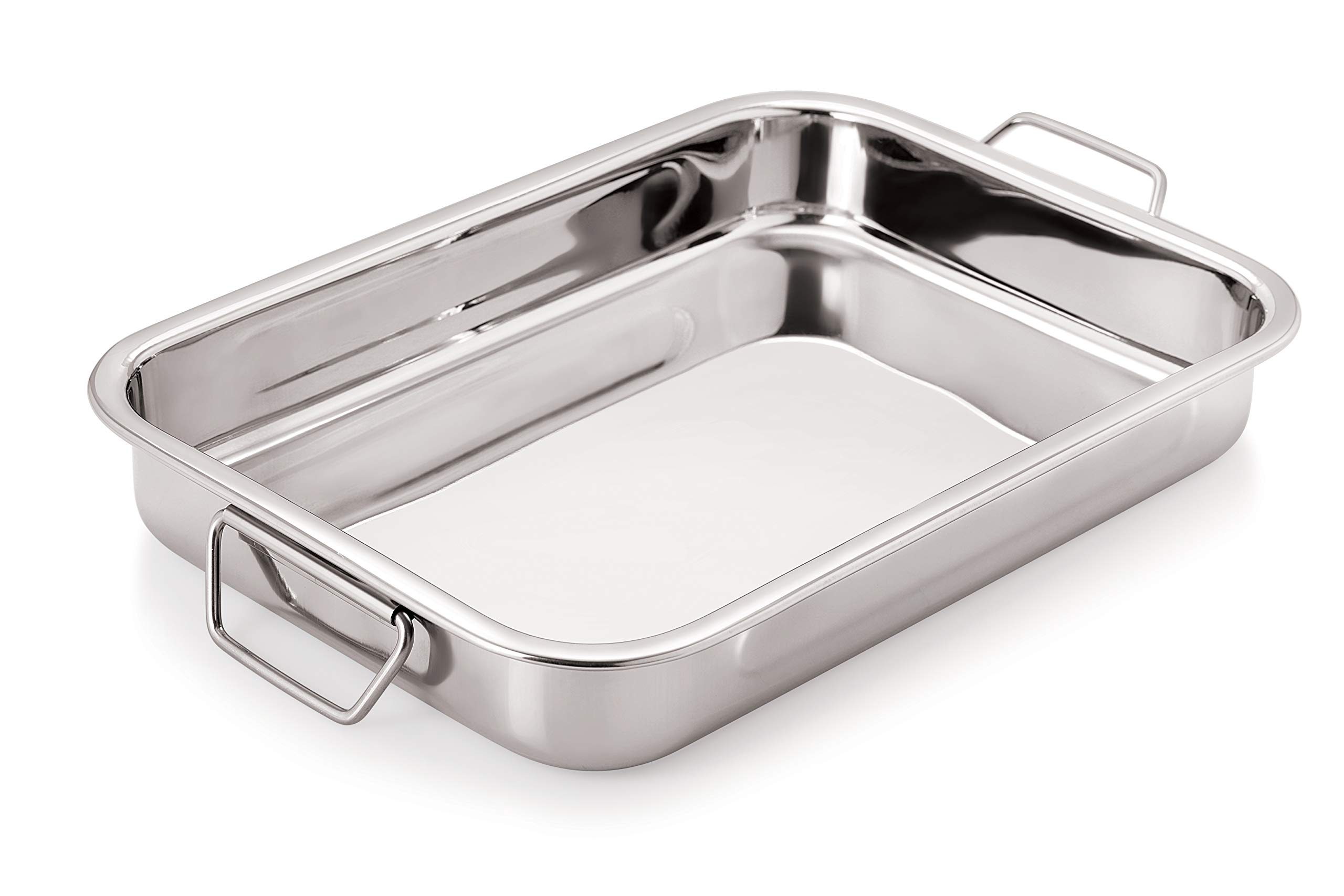 Chef Direct Stainless Steel Roast Pan with Folding Handles // Rectangular Lasagna Pan for Baking, Roasting, Grilling, OTG Oven Safe (Length 35cm X Width 24cm) by Chef Direct