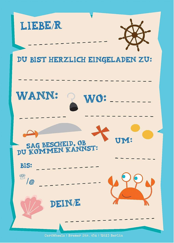 12 Einladungskarten Piraten Zum Kindergeburtstag 13 Sticker Gratis