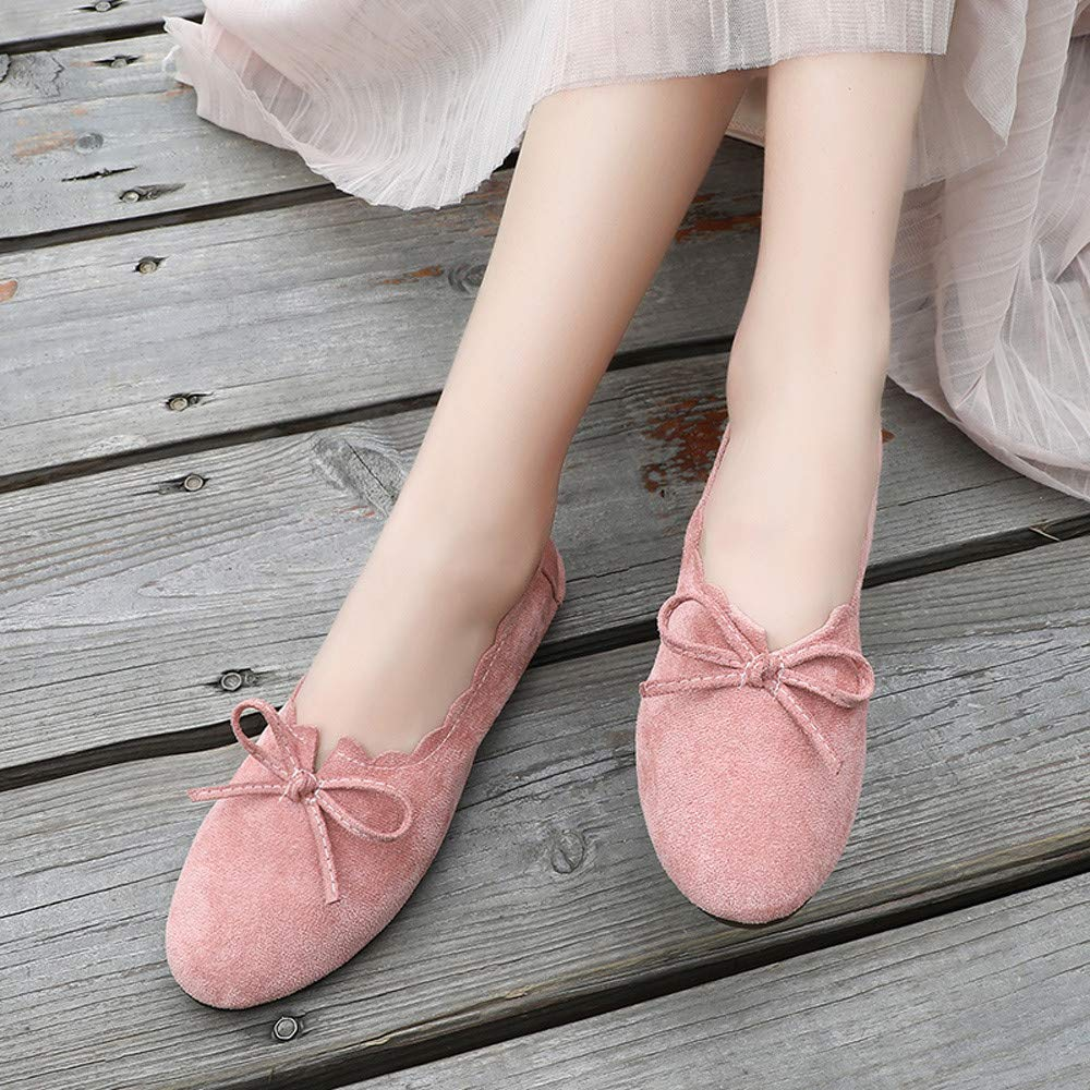 bcb5b27917b75 Amazon.com | GINELO Casual Women Peas Boat Shoes Bowknot Round Toe Suede  Lace Up Shoes Flat Single Shoes | Shoes