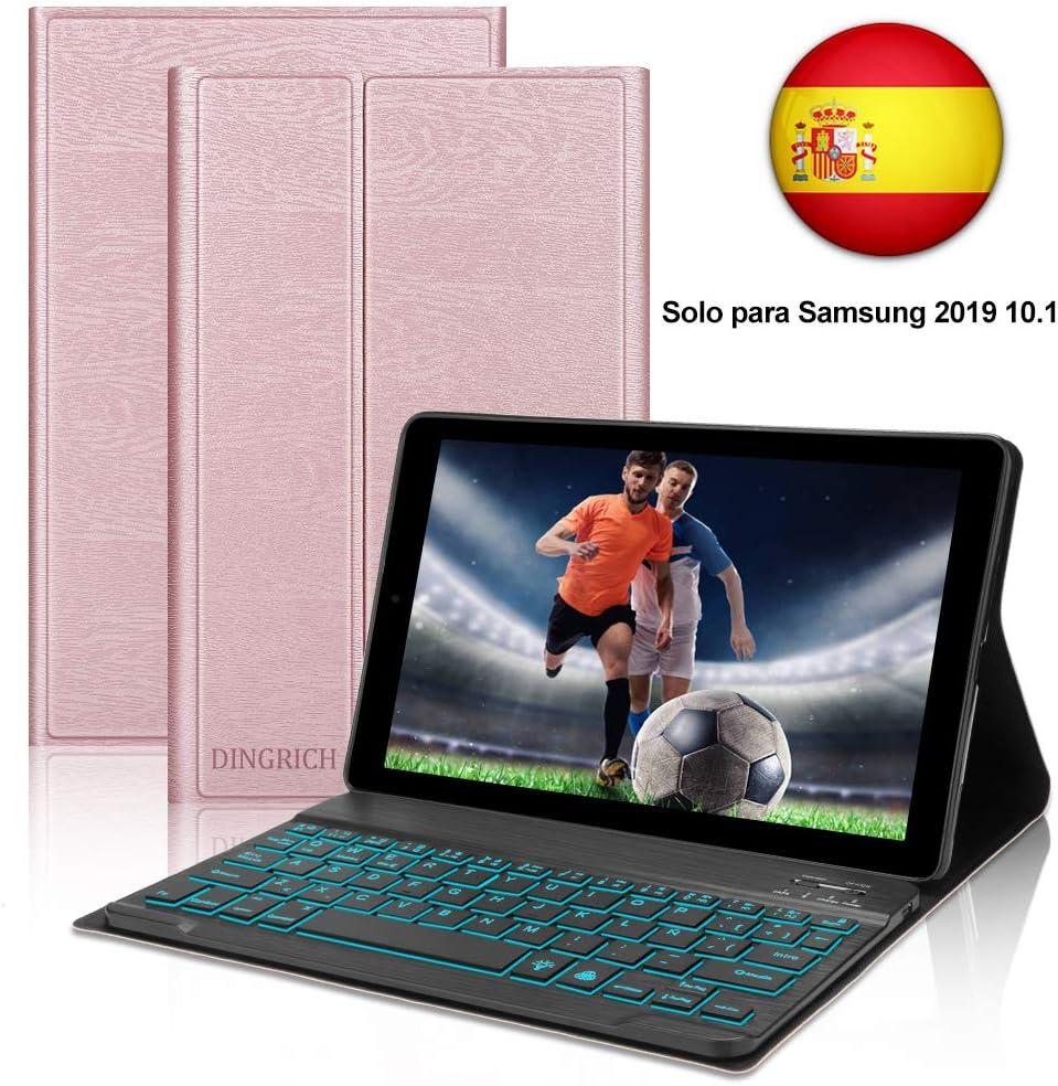 Dingrich Funda Teclado (Incluye Ñ) para Galaxy Tab A 10.1 2019 T510 T515,Funda de Teclado Inalámbrico Extraíble Magnético para Samsung Galaxy Tab A 10.1 T510/T510(Oro Rosa)