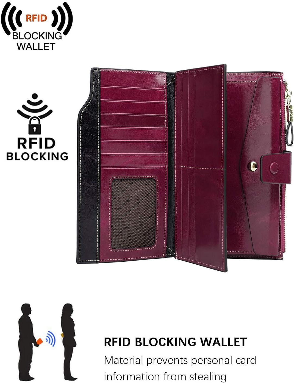 PARVENZA Femme Portefeuille RFID Blocage Bourse Cuir V/éritable de Cire Porte-Monnaie Grande Capacit/é Purse Wallet Caf/é PVZ0702C