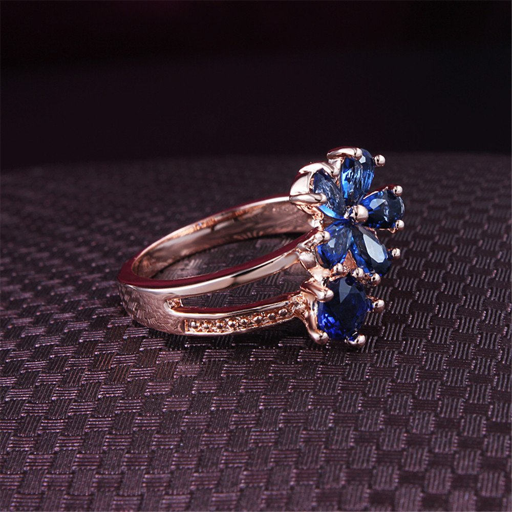 Women's Stacking Ring Pave Cubic Zircon Eternity Promise Ring Flower Top Infinity Wedding Band by 17maimeng (Image #4)