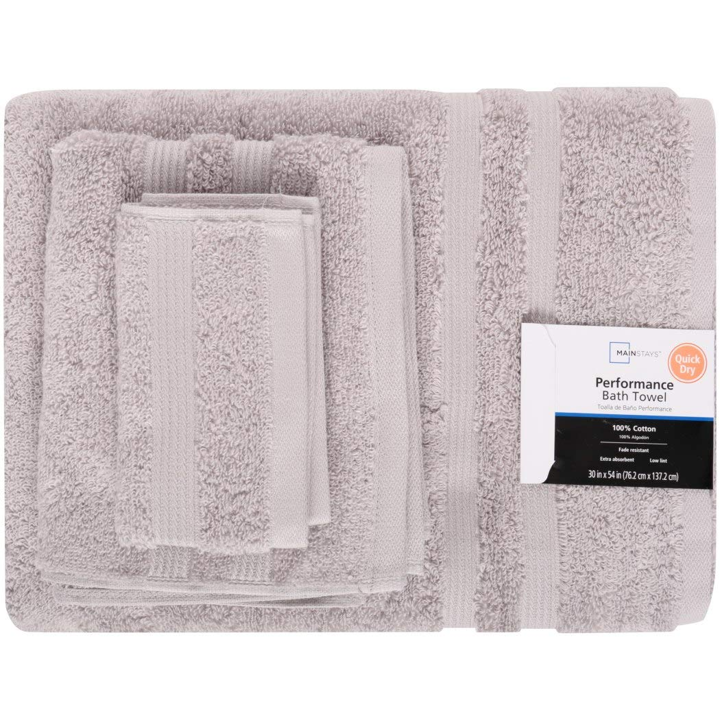 Amazon.com: OV 6 Piece Soft Silver Solid Color Towel Set with 30 X 54 Inches Bath Towels, Grey Stripe Border Bold Line Soft Cozy Fade Resistant Quick Dry ...