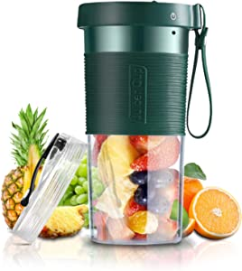 Portable Personal Size Blender for Shakes and Smoothies USB Rechargeable Cordless Mini Fruit Juicer Single Serve Protein Mixer Upgrade 3-Blade BPA Free 12 Oz. with Sport Travel Cup Lid
