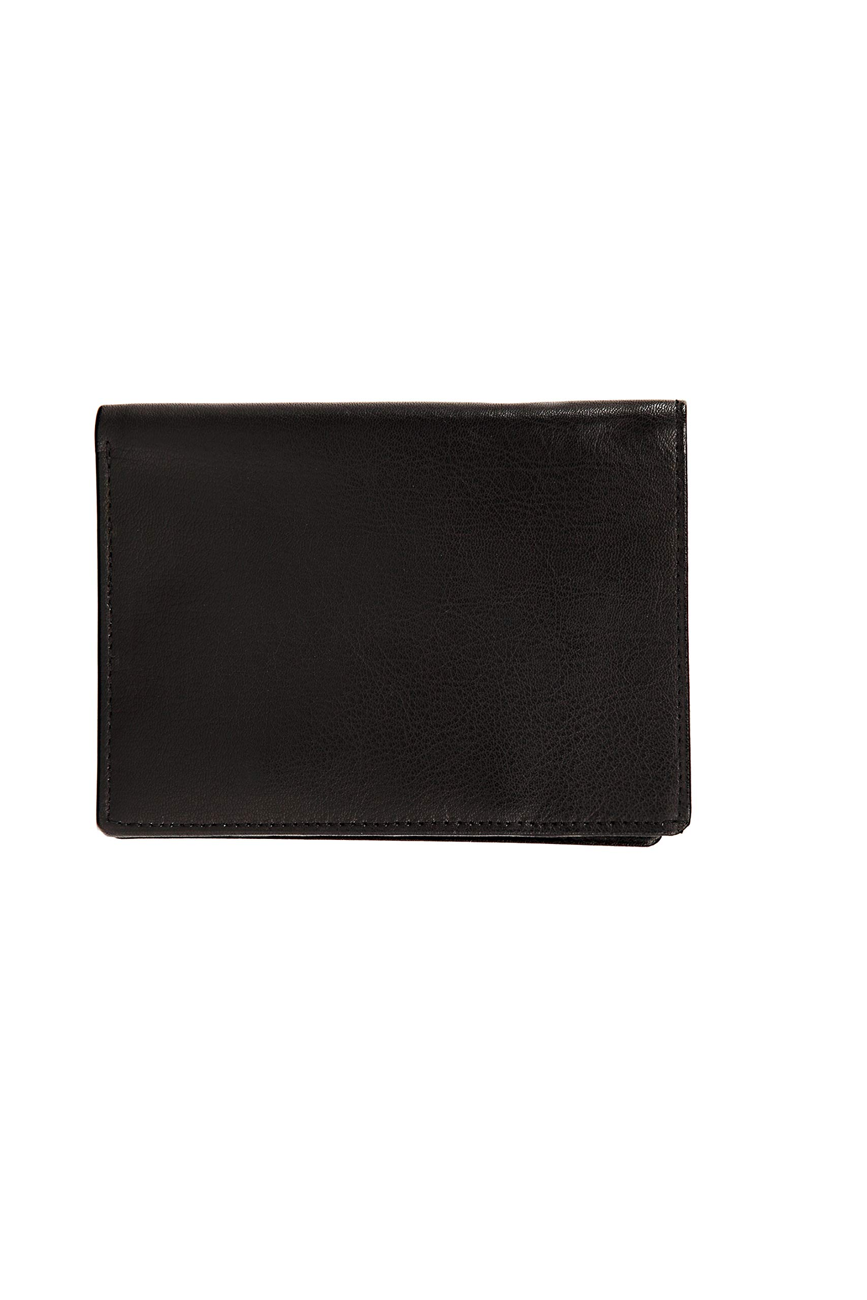 JL Collections 7 Card Slots Unisex Leather Passport Wallet (Black)