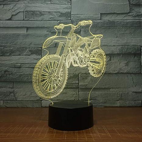 Moto de motocross 3D forma noche luces Lampara de mesa de ...