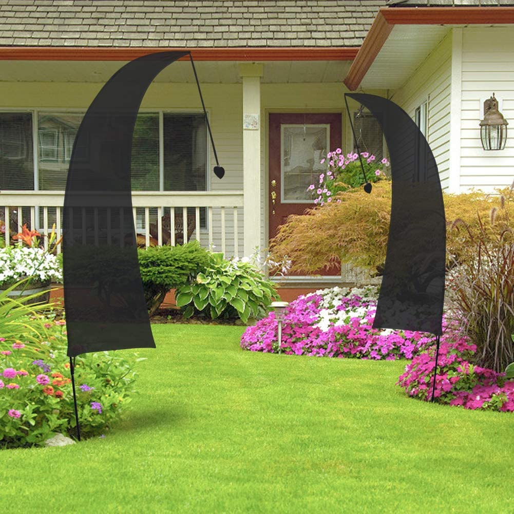 QSUM Black Feather Flag /& Pole Kit Festival Flag Commercial Advertising PromotionBeach Sign Outdoor Decoration Sports Event Display Blank Banner Ready For Custom and Design