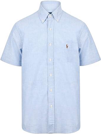 Ralph Lauren Classic Fit - Camisa de manga corta, color azul claro jaspeado azul claro S: Amazon.es: Ropa y accesorios