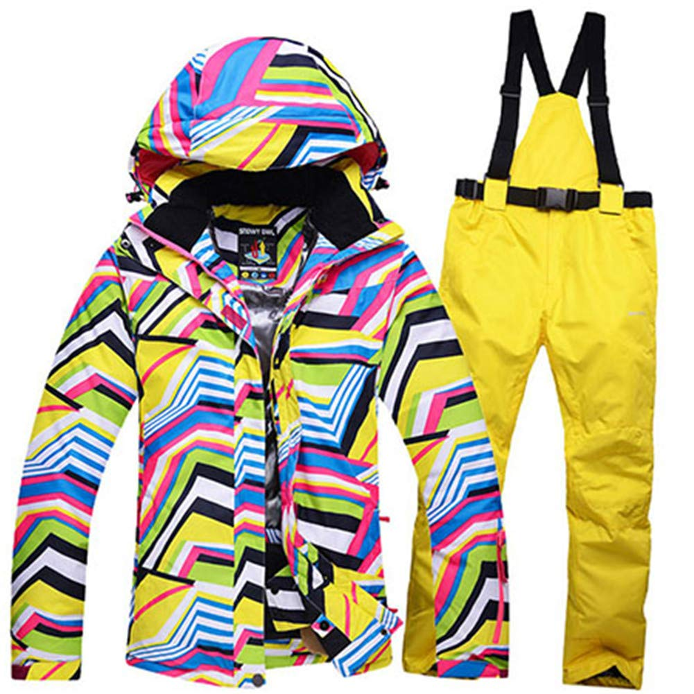 1 Ski Suits Women's Jacket with Pants Snowboard Clothes Snowboard Ski Sports Female Ski Suit Waterproof Windproof Breathable