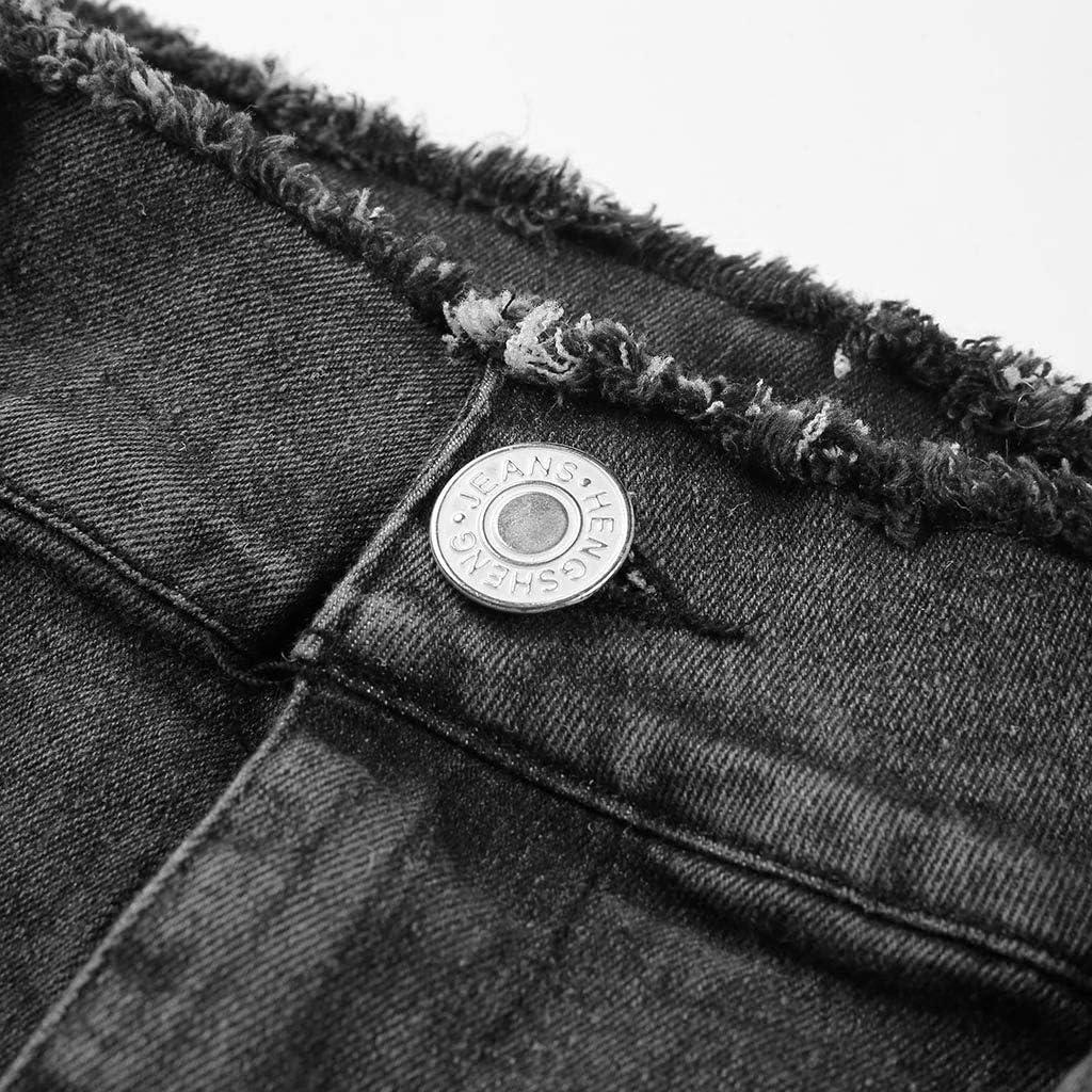 Forthery New Womens Denim Jeans Casual Tassel Loose Denim Slim Fit Jeans Comfy Stretch Skinny Jeans