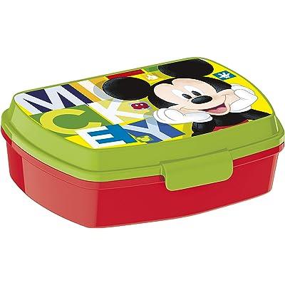 ALMACENESADAN 2047 Sandwichera Restangular Disney Mickey Mouse Watercolors; Producto de plástico; Libre BPA; Dimensiones Interiores 16,5x11,5x5,5 cm: Juguetes y juegos