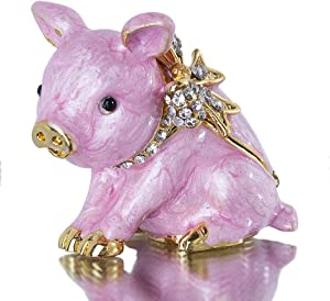 Cute Piggy Jewelry Trinket Box Hinged Collectible Crystal Jeweled Pig Decor Animal Figurines