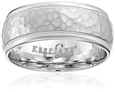 Mens Keepsake Signature 14k White Gold 8mm Hammered Wedding Band