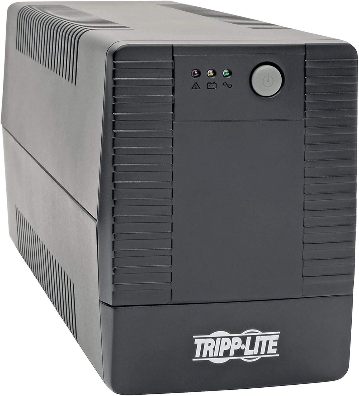 Tripp Lite 600VA UPS Battery Backup, Desktop UPS, 6 Outlets, USB, 360W, 120V, 50/60Hz, 2 Year Warranty & $100, 000 Insurance (BC600TU), Black