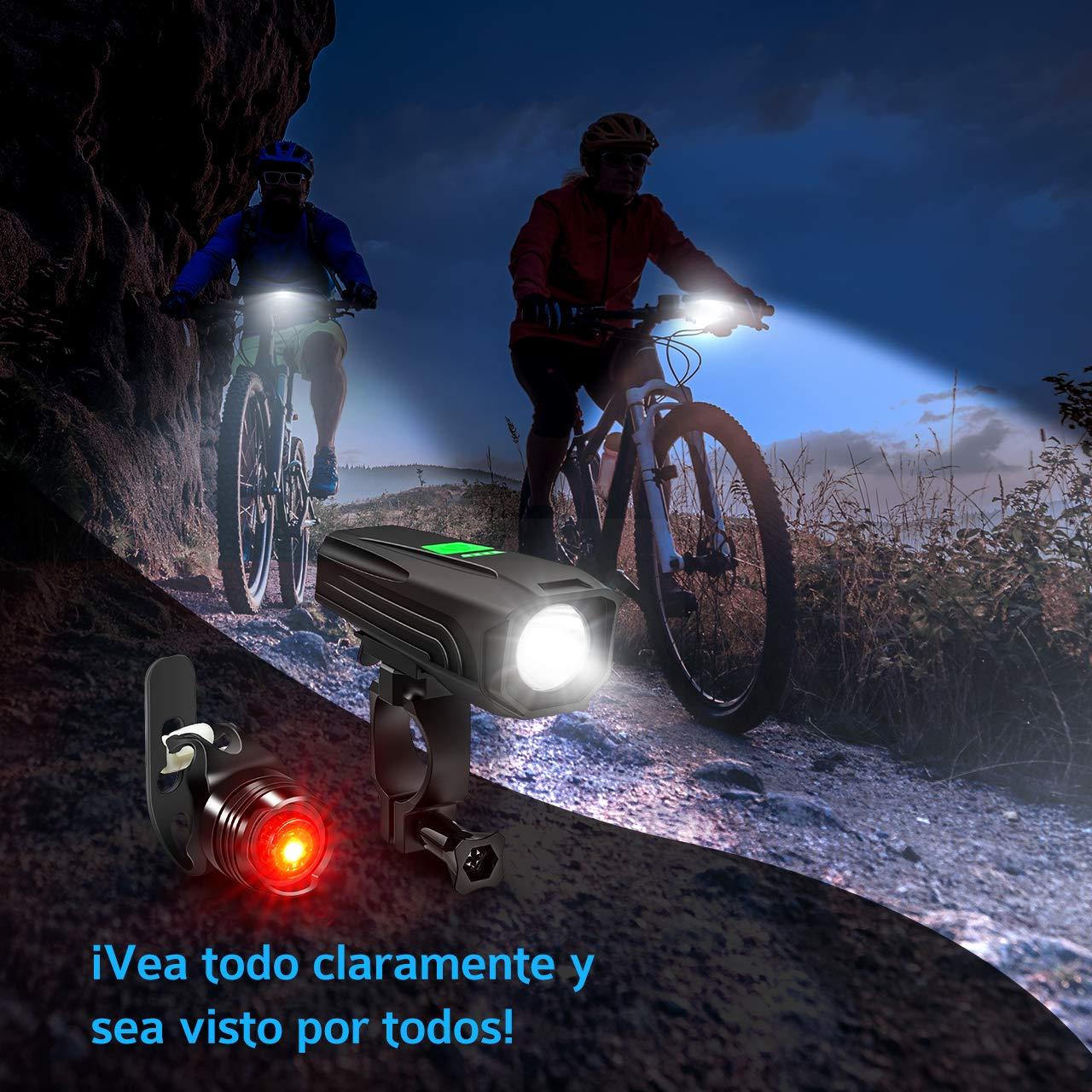 Luz Trasera Bicicleta Potente con 3 Modos y Autonom/ía de 50H Linterna Bicicleta Recargable LED Alta Potencia 450 Lumenes con 5 Modos y Impermeable IP65 TOPELEK Luces Bicicleta Delantera y Trasera