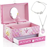 Kids Musical Jewelry Box for Girls with Big Drawer and Jewelry Set with Cute Princess Theme - Beautiful Dreamer Tune…