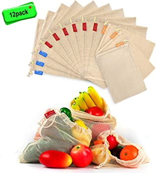 12-Packs Washable Mesh Grocery Bags with Tare Weight Tags