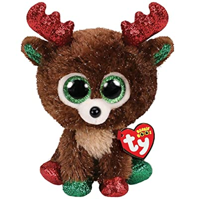 Ty- Beanie Boo's-Fudge The Reindeer 15cm, TY36684, Brown: Toys & Games