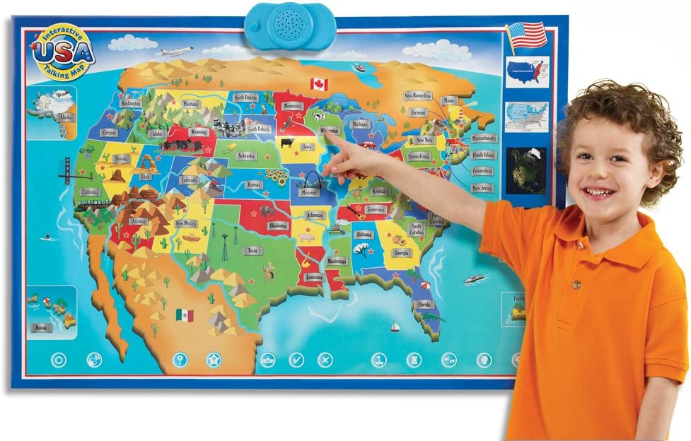 Full Interactive Map Of Usa.Amazon Com Zanzoon Interactive Map Usa English Toys Games