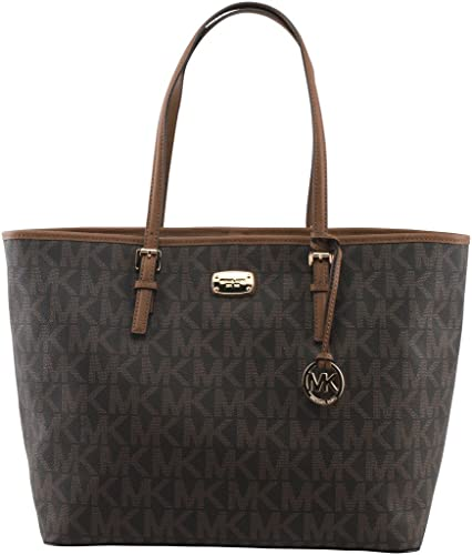 1c6d56836f43 Amazon.com  Michael Kors Jet Set Travel Brown Large Carryall Tote MK  Signature Bag  Shoes