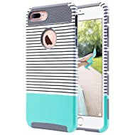 ULAK iPhone 7 Plus Case, Slim Dual Layer Protection Scratch Resistant Hard Back Cover Shock Absorbent TPU Bumper Case for Apple iPhone 7 Plus 5.5 inch,Minimal Mint Stripes+Grey