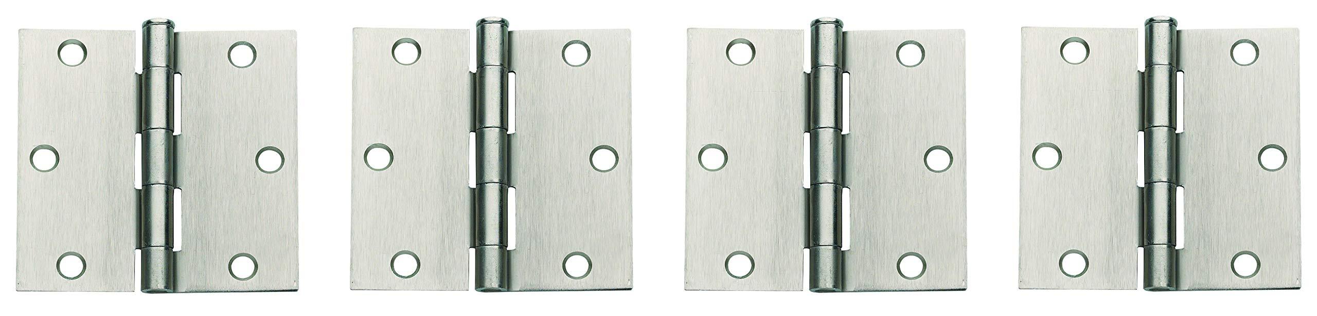 Global Door Controls 3.5 in. x 3.5 in. Satin Nickel Plain Bearing Steel Hinge - Set of 2 (Fоur Paсk)