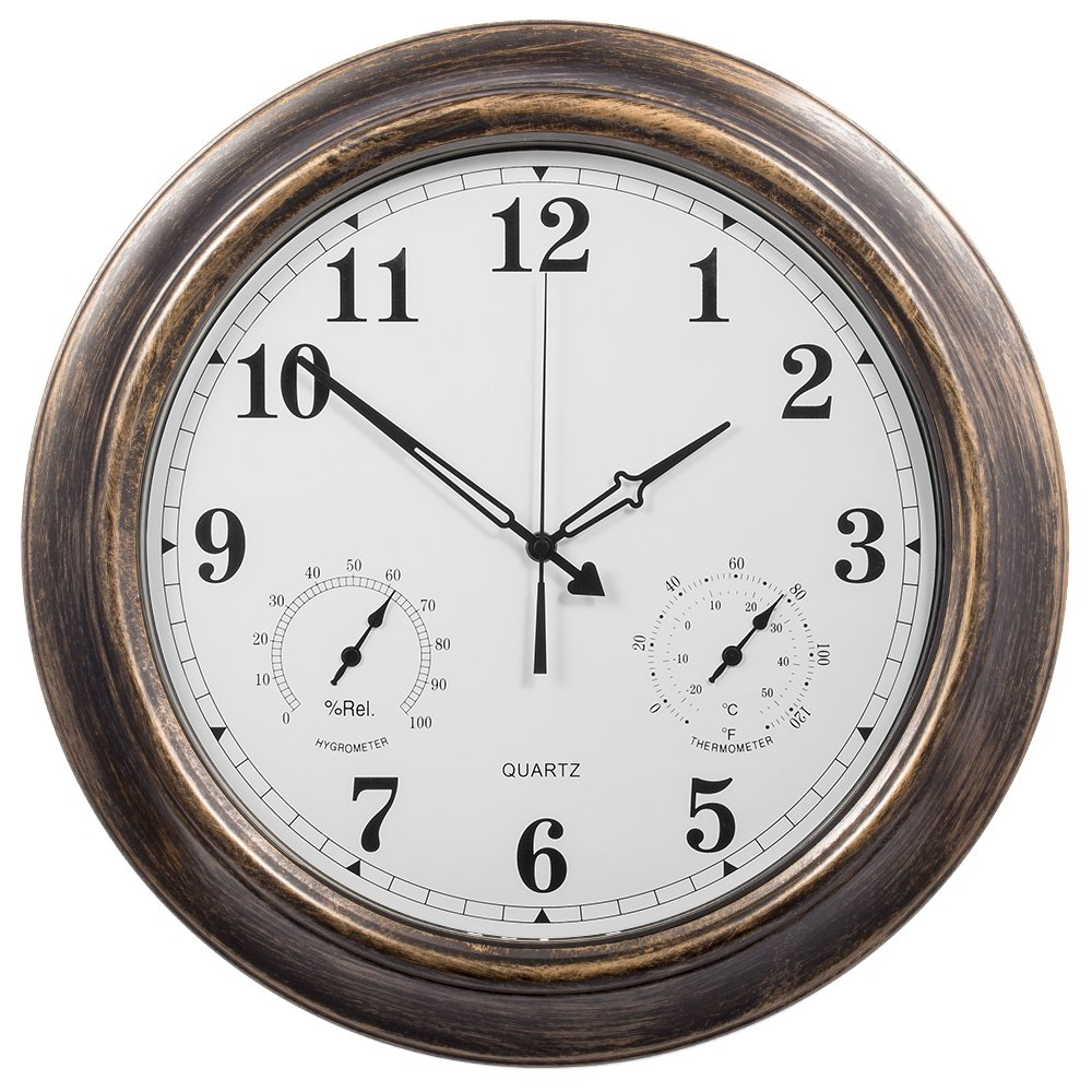 Outdoor Garden Wall Clock Thermometer & Humidity 45cm Black Frame ...