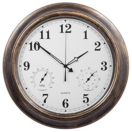Beau SkyNature Outdoor Clocks, 18 Inch Large Indoor Outdoor Wall Clock  Waterproof With Temperature And Humidity