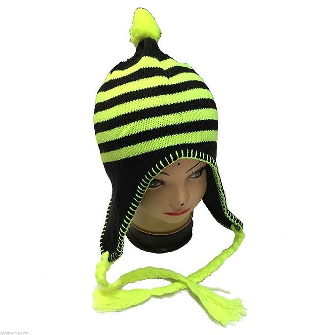 85dae0c4660 New Ladies Winter Hat Neon Pink Yellow Green Orange Stripes Trapper Ear Lap  Hats  Amazon.co.uk  Clothing