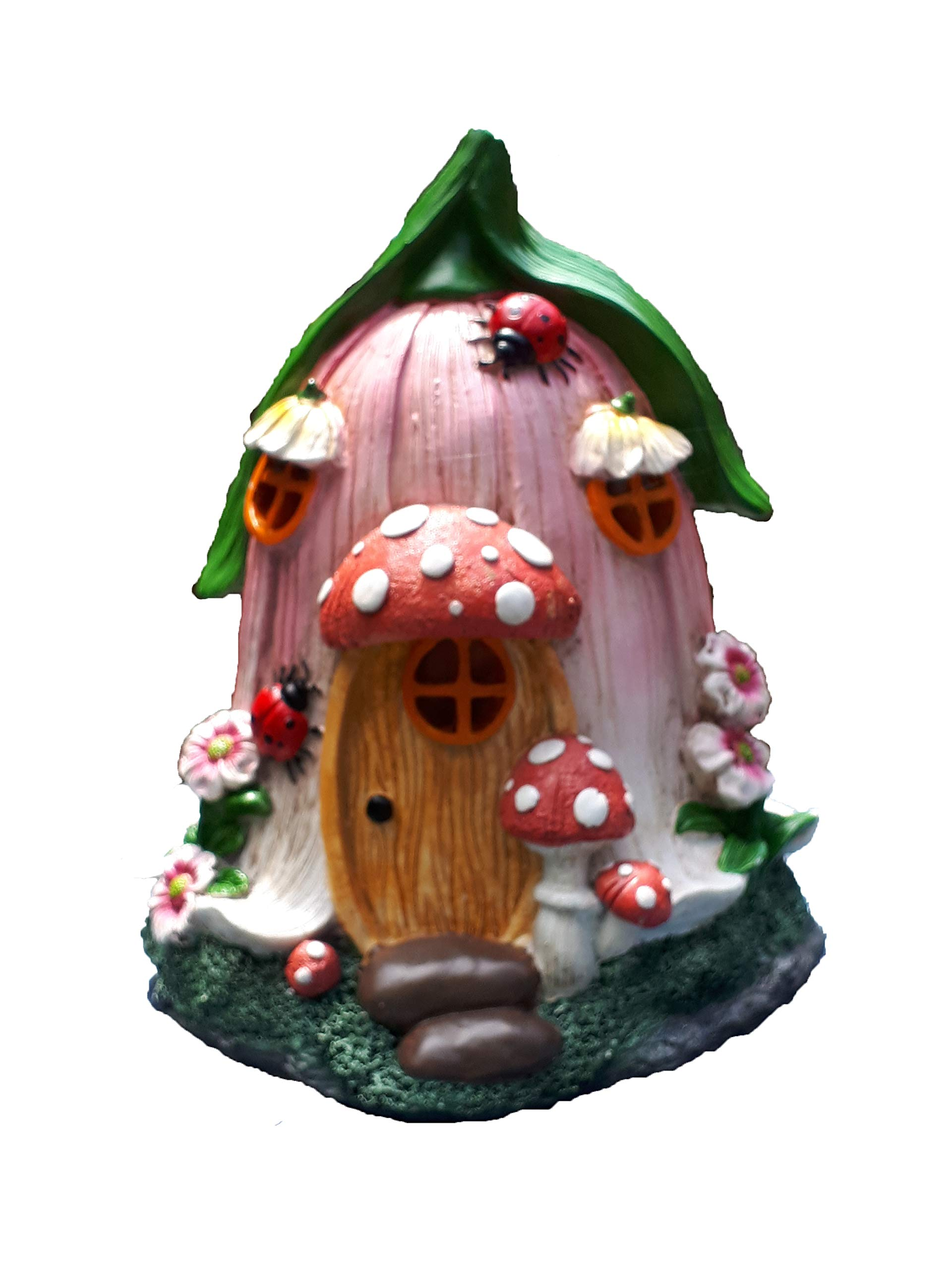 Mystic Garden Solar Resin Fairy Garden House. Tulip Design. Lights up at Night; Indoor or Outdoor Fairy Home for Flower Gardens, planters, Window Boxes, Terrarium or Yard.