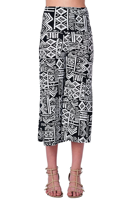 12ef8e935ef Jubilee Couture Women s Multi Geometric Chevron Print Fold Waist 3 4 Length Gaucho  Capri Pants at Amazon Women s Clothing store