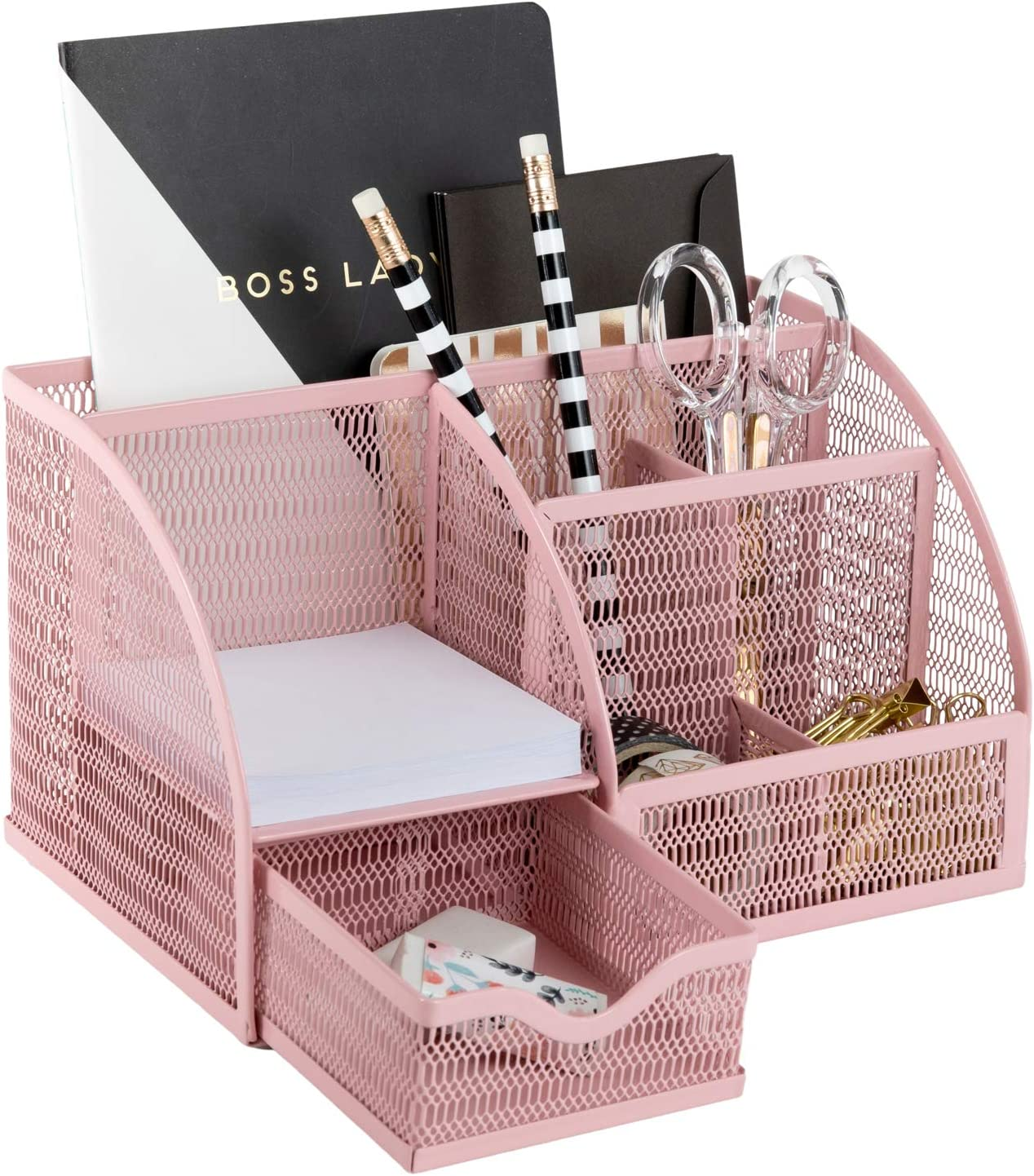 Light Pink Desk Organizer - Cute and Girly Pink Desk Accessories - Office Storage for Girls and Women - Paper Storage and Office Supply Storage - Home Office