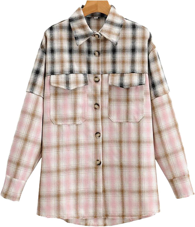 Chaqueta de otoño para Mujer Camisa a Cuadros Abrigo Bolsillo ...
