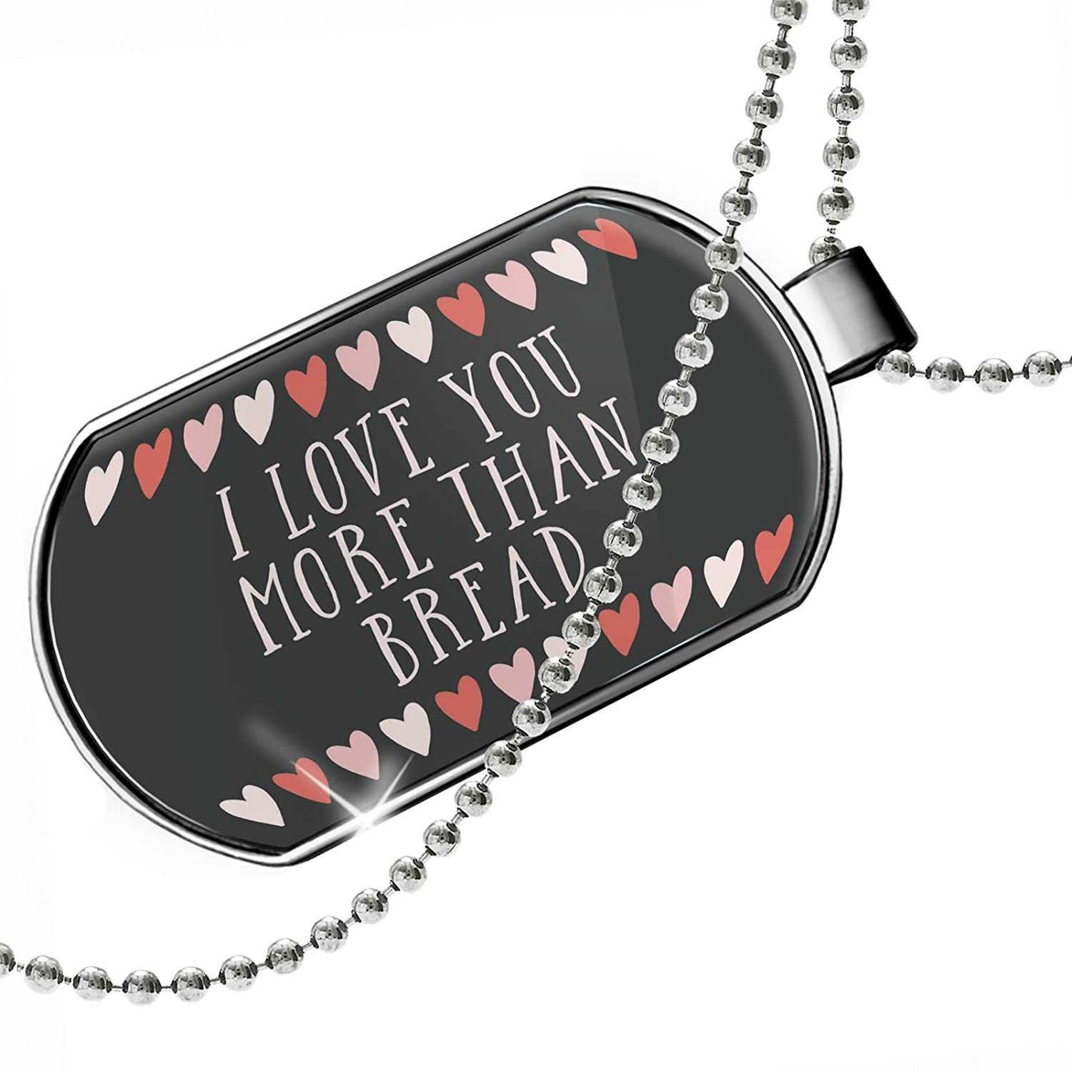 NEONBLOND Personalized Name Engraved I Love You More Than Bread Valentines Day Cute Hearts Dogtag Necklace