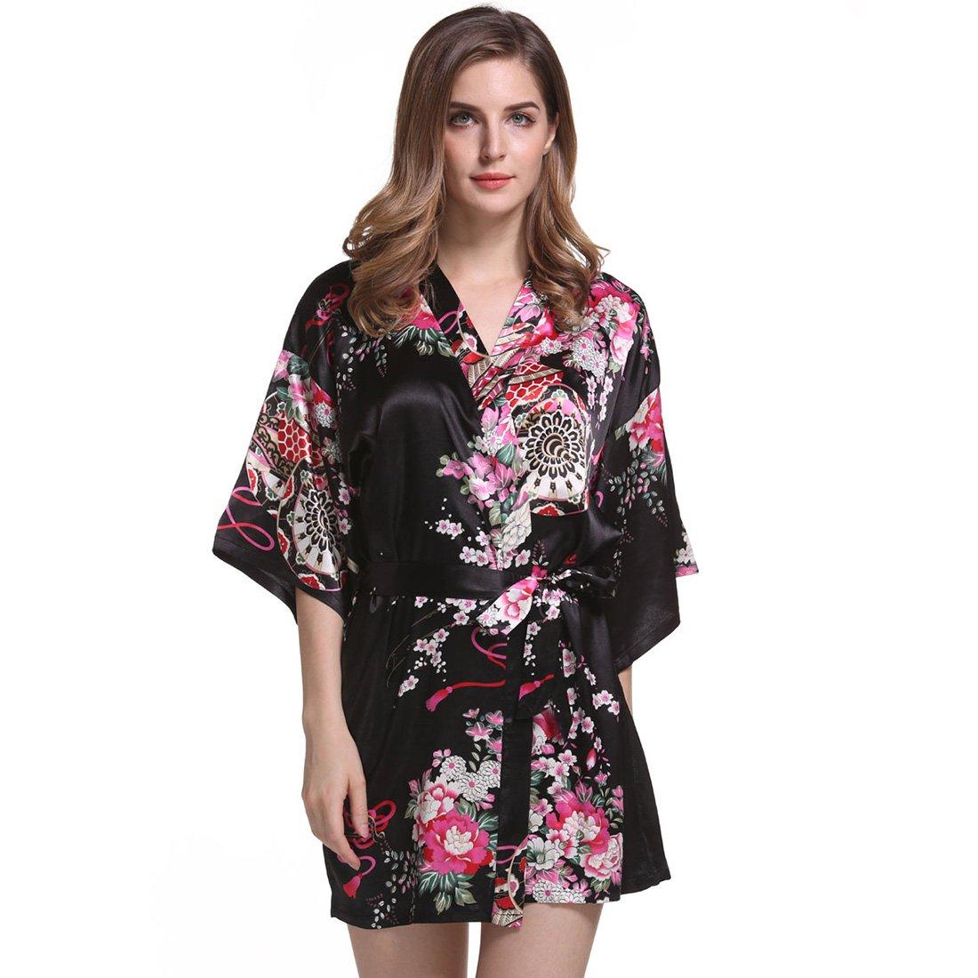 4fef04d2f Silkgrace Women's Elegant Flower Printing Kimono Robe Satin Short Sleeve  Sleepwear (XL, Black)