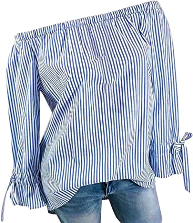 FAMILIZO_Camisetas Camisas Rayas Mujer Mujer Elegantes Verano ...