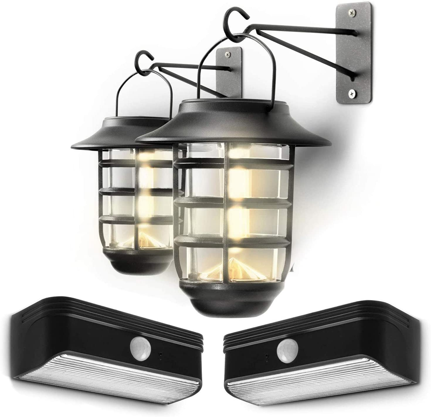 Home Zone Security Solar Wall Lantern Lights and Solar Step Lights Bundle Kit