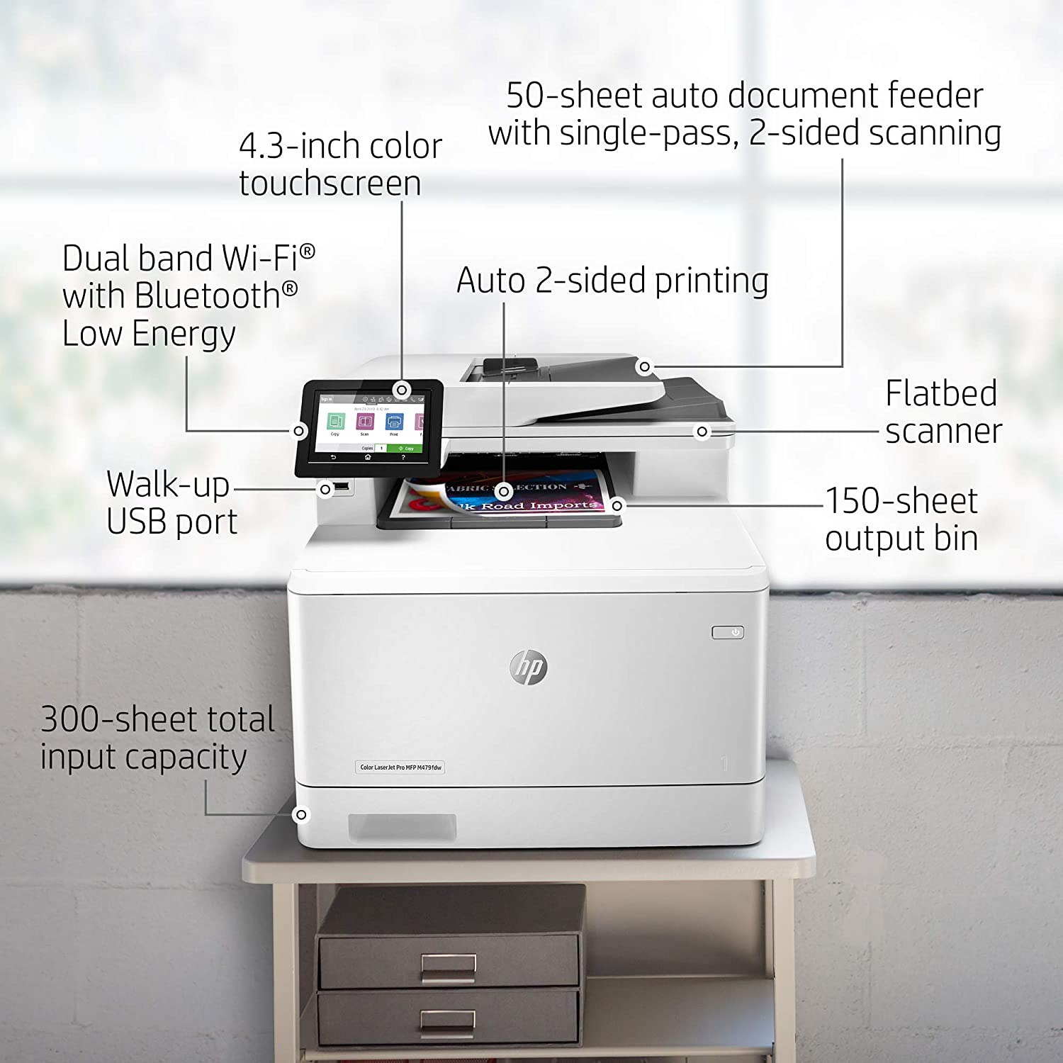 HP Color LaserJet Pro Multifunction M479fdw Wireless Laser Printer with One-Year, Next-Business Day, Onsite Warranty (W1A80A)
