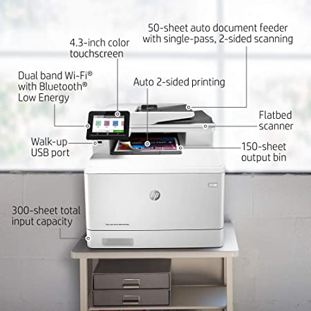 HP Color LaserJet Pro M479fdw Impresora Láser Multifunción a Color (A4, hasta 27 ppm, de 750 a 4000 Páginas al Mes, 1 USB 2.0 , 1 USB Host, 1 Red ...