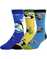 Men's Crazy Cool Pattern Novelty Dress Crew Cotton Funny Socks Multi Pack